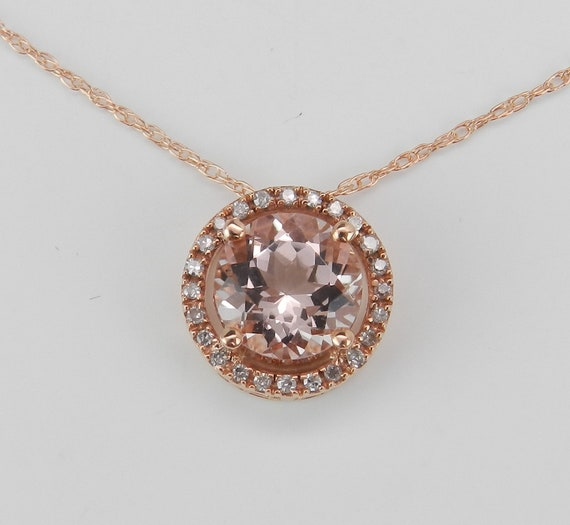 "1.70 ct Morganite and Diamond Halo Pendant Necklace 17"" Chain 14K Rose Gold Wedding Gift"