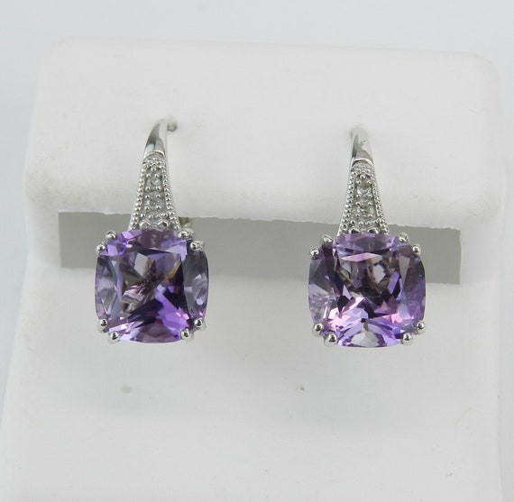 14K White Gold Diamond and Cushion Cut Amethyst Drop Earrings February Birthday
