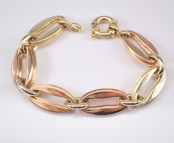 "Vintage Estate 14K Yellow and Rose Gold Large Link Bracelet 8"" 28.6 grams"