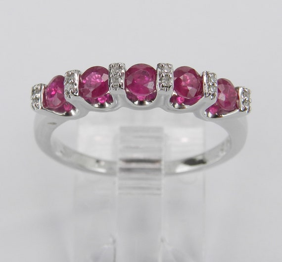 Ruby Wedding Ring, Ruby and Diamond Ring, White Gold Anniversary Band, Stackable Ring, July Birthstone