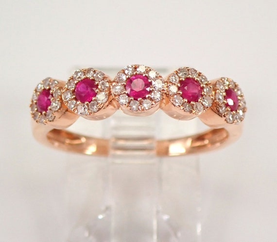14K Rose Gold Diamond and Ruby Halo Wedding Ring Anniversary Band Size 7 FREE Sizing