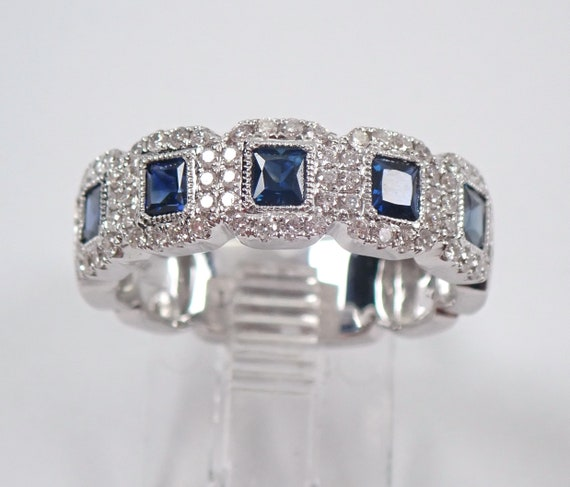 Diamond and Princess Cut Sapphire Halo Wedding Ring Anniversary Band 14K White Gold Size 6.75
