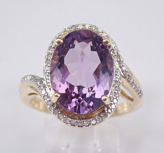 14K Yellow Gold 6.30 ct Diamond and Amethyst Halo Engagement Ring Size 7 Purple February Gemstone