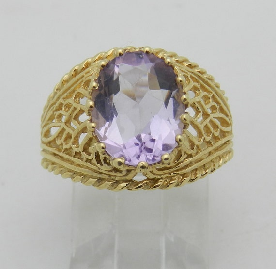 SALE Amethyst Solitaire Engagement Ring 14K Yellow Gold Size 6 Vintage Reproduction