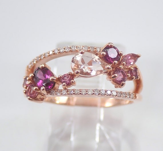 Morganite Rhodolite Garnet Diamond Anniversary Band Wedding Ring Rose Gold Size 7