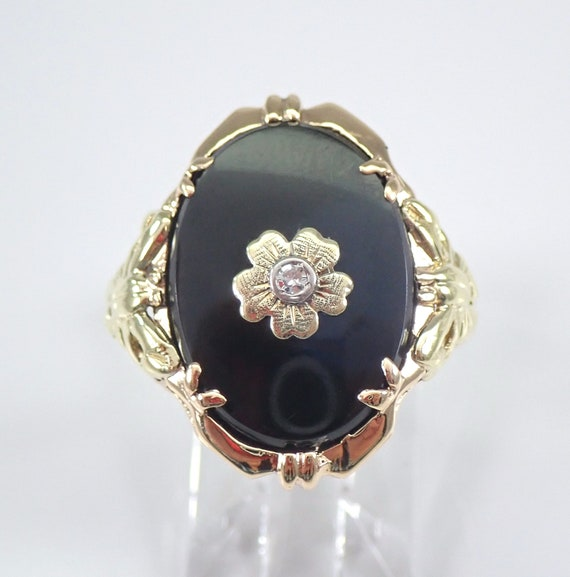 Antique Vintage Onyx and Diamond Flower Ring 14K Yellow Gold Circa 1930's Size 8.5