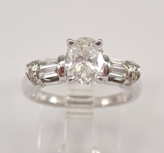 14K White Gold 1.26 ct Oval Diamond Engagement Ring Brilliant Size 7 Natural