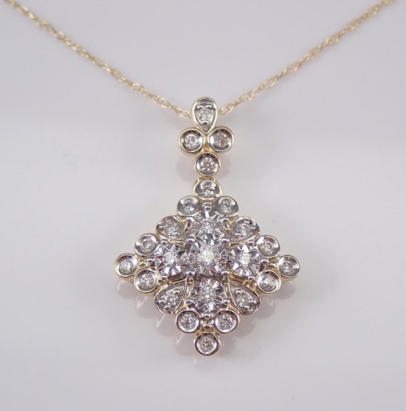 Diamond Cluster Pendant Yellow Gold Wedding Necklace Drop Slide Chain 18""