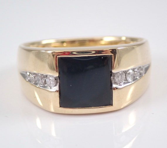 Mens Onyx and Diamond Ring Anniversary Engagement Pinky Yellow Gold Size 10.5