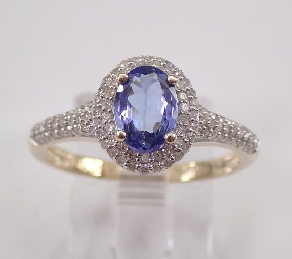 Tanzanite and Diamond Halo Engagement Ring Yellow Gold Size 7 Micro Pave FREE Sizing