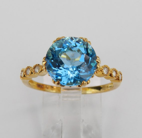 Diamond and Blue Topaz Engagement Ring, Yellow Gold Statement Ring, Size 8.25, December Gemstone