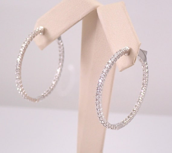 14K White Gold 1.33 ct Diamond Hoop Earrings Diamond Hoops In and Out  Modern