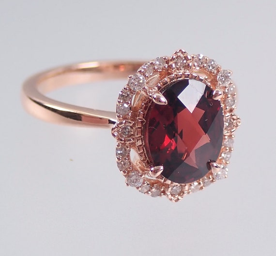 Garnet and Diamond Halo Engagement Ring Rose Gold Size 7 January Birthstone