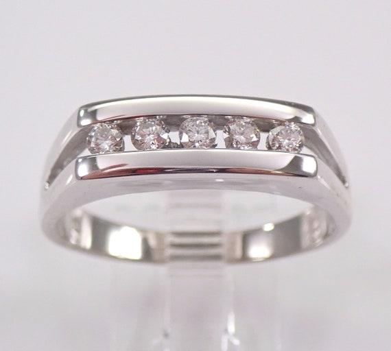 Mens 14K White Gold Round Diamond Wedding Band Anniversary Ring Size 11.75