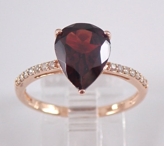 Garnet and Diamond Engagement Ring Rose Gold Size 7 Pear Solitaire January Birthstone