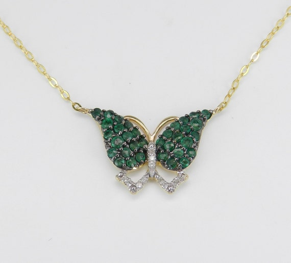 "Emerald Butterfly Necklace, Diamond and Emerald Pendant, Yellow Gold Necklace, Emerald Cluster Pendant, Gold Butterfly, 17"" Chain"