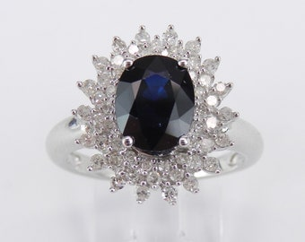 14K White Gold Diamond and Sapphire Halo Engagement Prince Ring Size 7 September Birthstone