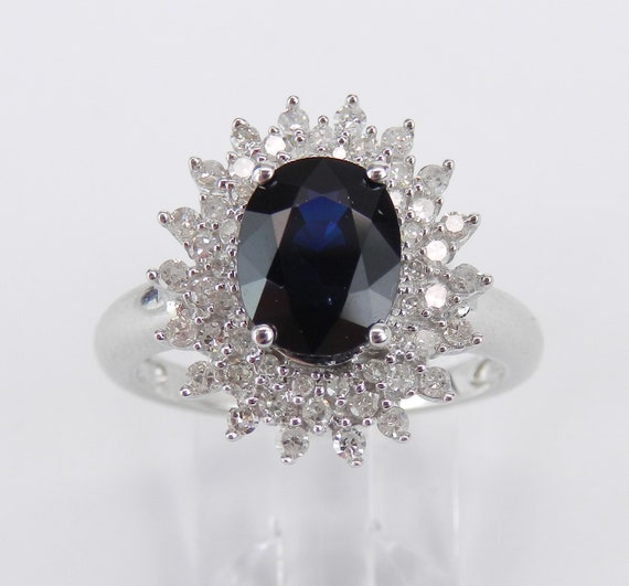RESERVED/SOLD 14K White Gold Diamond and Sapphire Halo Engagement Prince Ring Size 7 September Birthstone FREE Sizing