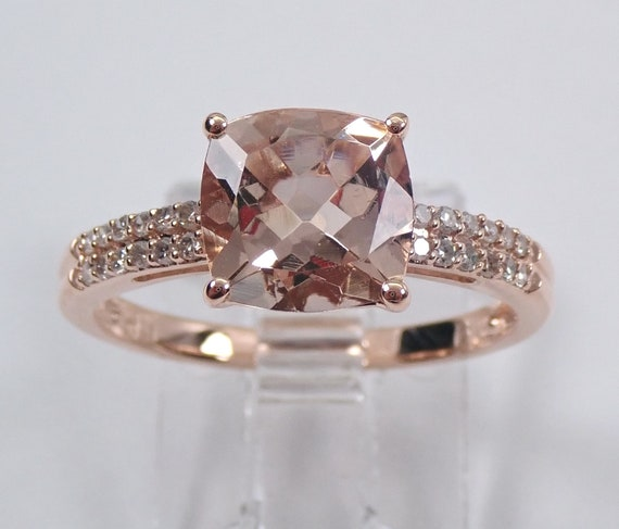 Cushion Cut Morganite and Diamond Engagement Ring Rose Gold Size 7 Pink Aquamarine