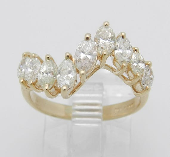 Diamond Wedding Ring, 1.00 ct Marquise Diamond Ring, Marquise Diamond Anniversary Band, 14K Yellow Gold Ring, Size 5.5