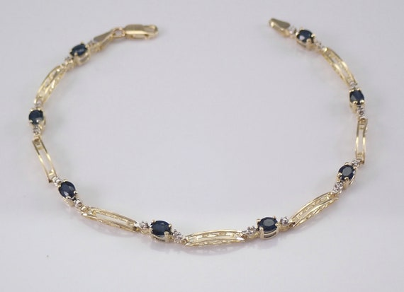 "Sapphire and Diamond Yellow Gold Tennis Bracelet 7"" Dark Blue September Gemstone"