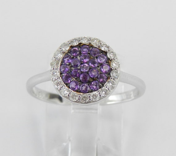 14K White Gold Diamond and Amethyst Cluster Promise Cocktail Ring Size 7.25 FREE Sizing