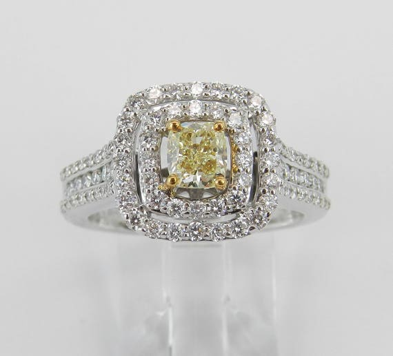 14K White Gold Canary Cushion Cut Diamond Double Halo Engagement Ring