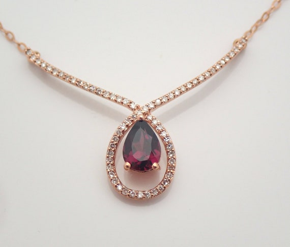 """Rose Gold Pear Garnet and Diamond Lariat Style Necklace 17"""" Chain Pendant"""