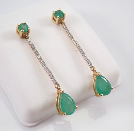 Emerald and Diamond Dangle Drop Earrings 14K Yellow Gold Green May Birthstone Wedding Earrings