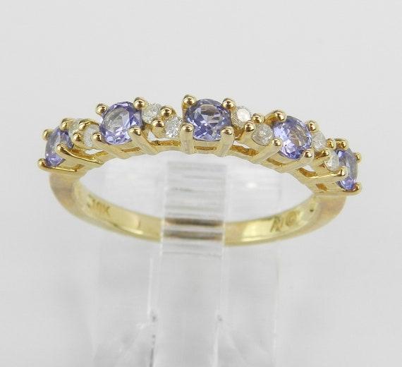 Tanzanite and Diamond Wedding Ring Stackable Anniversary Band Yellow Gold Size 7 FREE Sizing