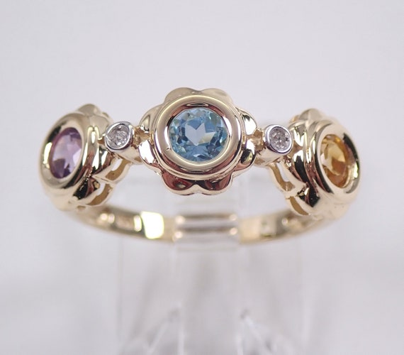 Yellow Gold Multi Color Flower Wedding Ring Anniversary Band Citrine Blue Topaz Amethyst FREE Sizing