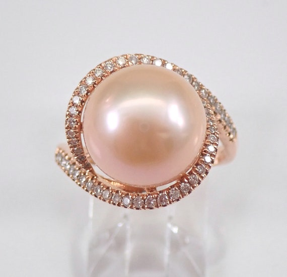 14K Rose Gold 12.4 mm Pink South Sea Pearl Diamond Halo Engagement Ring Size 7 June Birthstone FREE Sizing