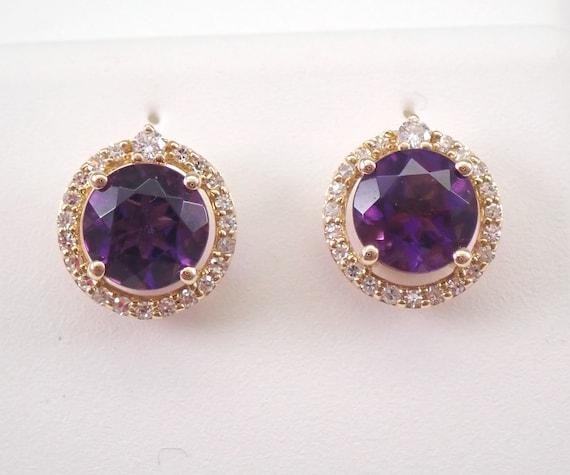 2.00 ct Amethyst and Diamond Stud Earrings Halo Studs 14K Yellow Gold February Birthstone