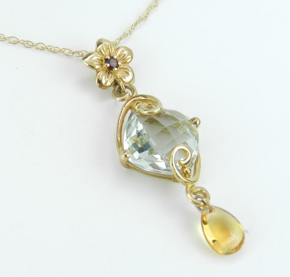 "Green Amethyst Necklace, Garnet Necklace, Citrine Necklace, Dangle Drop Pendant Necklace Yellow Gold 18"" Chain"