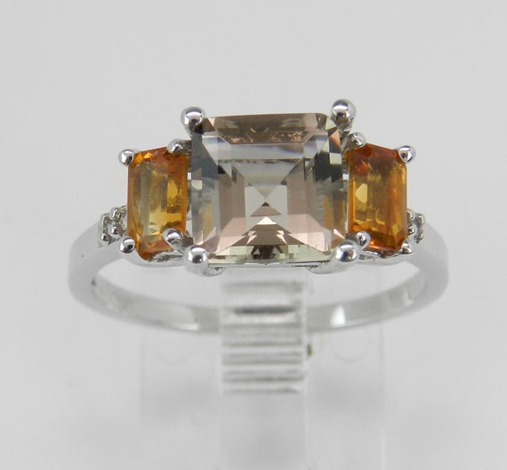 SALE Smokey Topaz Citrine Diamond Three-Stone Engagement Ring White Gold Size 7