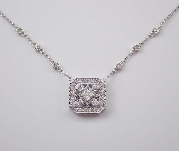 "Diamond Cluster Pendant 14K White Gold Princess Cut Wedding Necklace Chain 17"" April Birthstone"