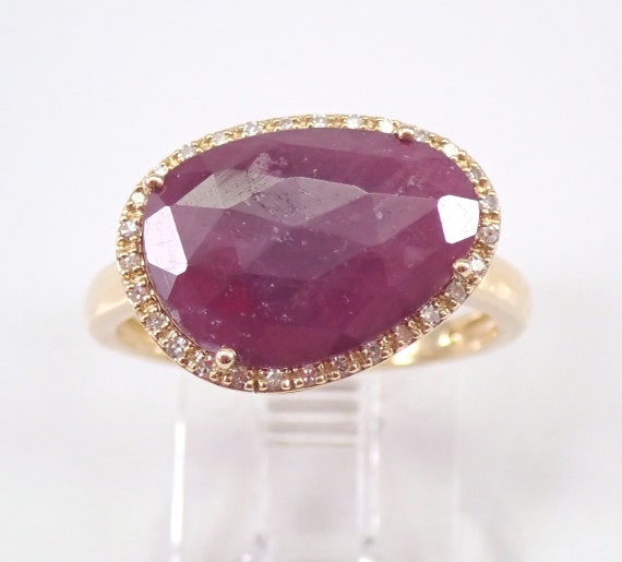 Yellow Gold 2.20 ct Diamond and Ruby Slice Engagement Ring Size 7 July Gemstone Birthstone FREE Sizing