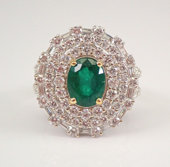 18K White Gold 4.80 ct Diamond and Emerald Halo Engagement Ring May Gem Size 7 FREE Sizing