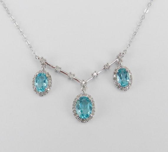 """White Gold Diamond and Apatite Halo Drop Pendant Necklace 18"""" Chain Past Present Future"""