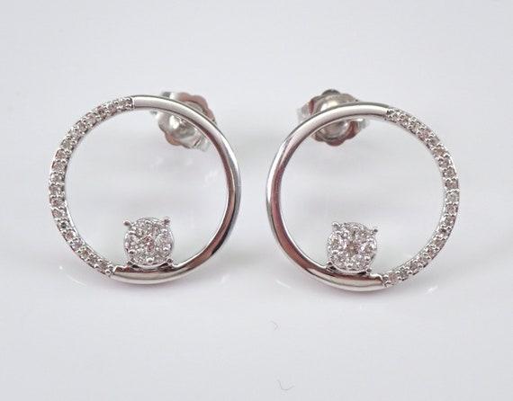 Diamond Earrings Circle Cluster Stud Earrings White Gold Modern Geometric Design