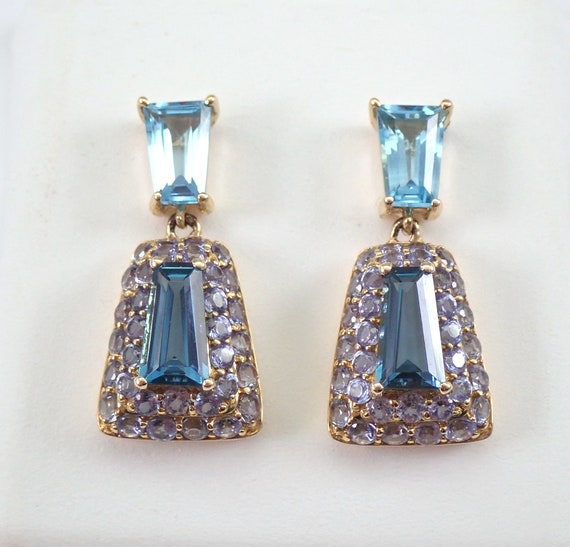 London and Swiss Blue Topaz and Tanzanite Dangle Drop Earrings 14K Yellow Gold Wedding Earrings