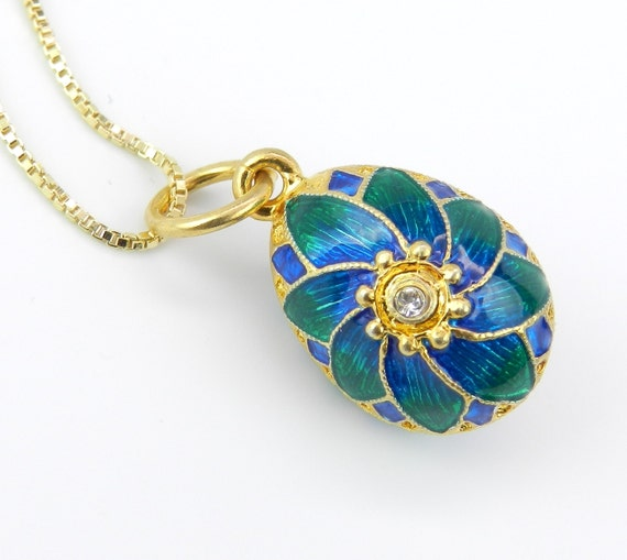 "18K Yellow Gold over Sterling Silver Blue and Green Enamel Swarovski Crystal Pendant with Chain 20"" Faberge Style Egg"