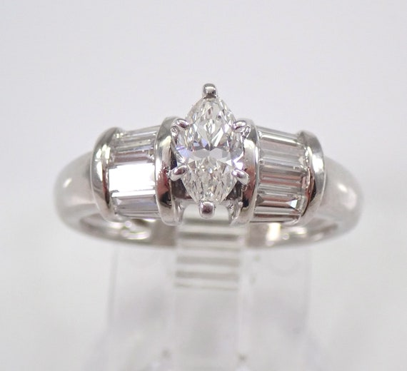 PLATINUM Marquise Diamond Engagement Ring Excellent Natural H VS Size 5 FREE Sizing