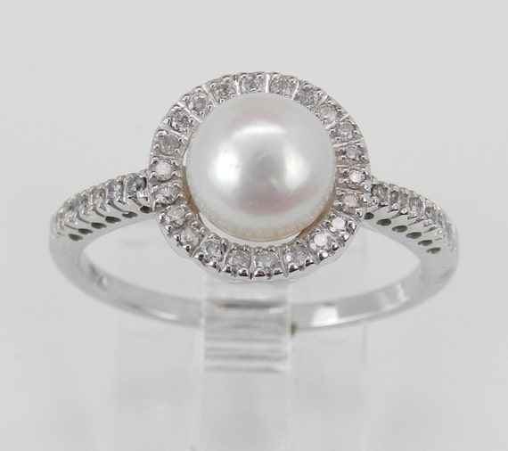 Pearl and Diamond Halo Engagement Ring White Gold June Birthstone Size 7.25