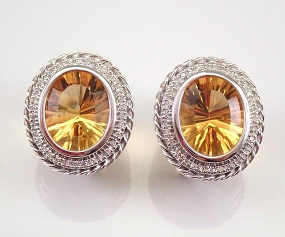 14K White Gold 8.27 ct Diamond and Citrine Halo Earrings Omega Clip November Gemstone