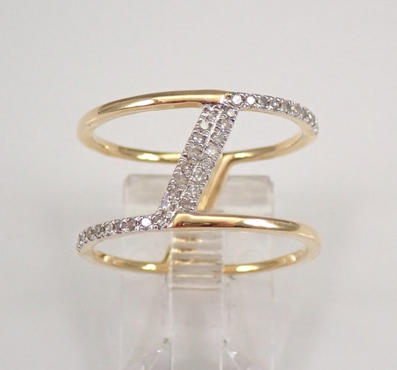 14K Yellow Gold Diamond Multi Row Modern Ring Wide Anniversary Band Size 7.25 FREE Sizing