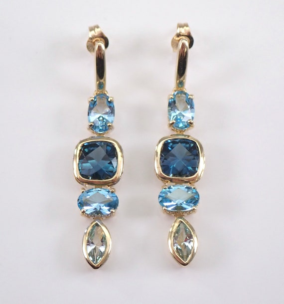 Yellow Gold 3.85 ct London Blue Topaz and Diamond Dangle Drop Earrings
