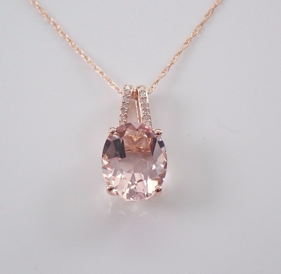"""Diamond and Morganite Pendant Slide Necklace 18"""" Chain Rose Gold Wedding Gift"""