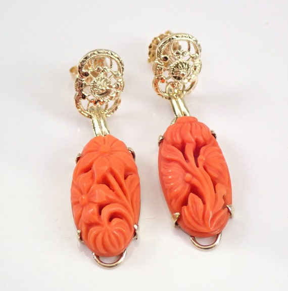 Antique Vintage Victorian 14K Yellow Gold Carved Coral Dangle Drop Earrings