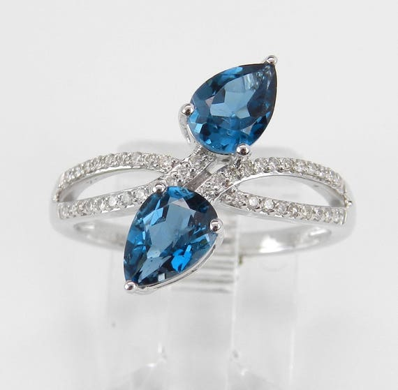1.73 ct Diamond and London Blue Topaz Ring, Blue Topaz Cocktail Ring, Diamond Bypass Ring, White Gold December Birthstone Ring, Size 7